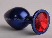 Средняя металлическая синяя пробочка с красным кристаллом