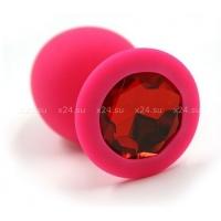 Средняя розовая силиконовая пробка с красным кристаллом