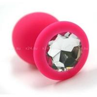 Средняя розовая силиконовая пробка с прозрачным кристаллом