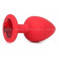 Средняя красная силиконовая пробка с красным кристаллом