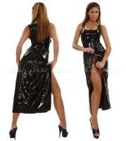 Красное длинное виниловое платье на молнии спереди