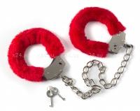 Металлические оковы на ноги с красным мехом Ankle Cuffs Red