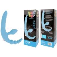 Безремневой страпон с вибрацией Sweet Toys (голубой)