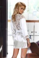 Атласный белый халатик с кружевной спиной и манжетами Prilance white XLXXL