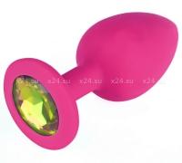 Средняя розовая силиконовая пробка с зеленым кристаллом