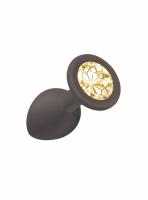 Черная силиконовая малая пробка Cutie Small с золотистым кристаллом