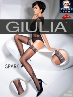Чулки черные с блестящим узором перышка Giulia SPARK 02 (20 Den) 3/4