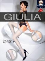 Чулки белые с блестящим узором перышка Giulia SPARK 02 (20 Den) 1/2