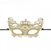Золотая ажурная карнавальная маска ЛЕДИ на завязочках