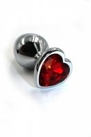 Маленькая пробочка с тупым кончиком с кристаллом в форме красного сердечка