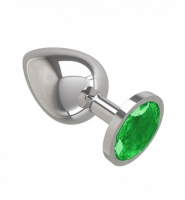 Большая серебряная пробочка с изумрудным круглым кристаллом