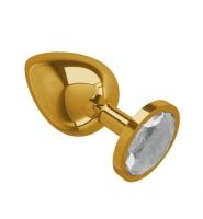 Большая золотая пробочка с прозрачным круглым кристаллом