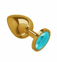 Большая золотая пробочка с голубым круглым кристаллом