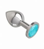Средняя серебряная пробочка с голубым круглым кристаллом