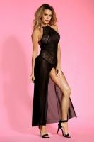 Длинная черная сорочка с открытой спиной Layla SL