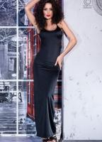 Длинное черное платье с открытой спиной и кружевной вставкой L