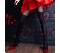 Колготки с имитацией чулок и красными сердечками Pari Love модель N60 L (60 den)