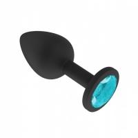 Маленькая черная пробочка из силикона с голубым кристаллом