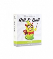 Стимулирующий презерватив с шариками Roll & Ball с ароматом яблока (1 шт)