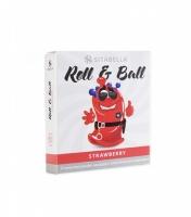 Стимулирующий презерватив с шариками Roll & Ball с ароматом клубники (1 шт)