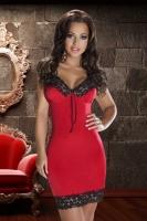 Красная сорочка с роскошным черно-золотым кружевом Natasha Dress XXLXXXL