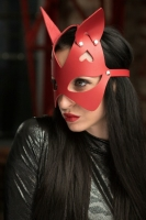Красная маска с ушками из натуральной кожи Passion Belts