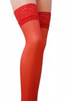 Красные чулочки с широкой кружевной резинкой на силиконе Passion (17 den, 3/4 размер)