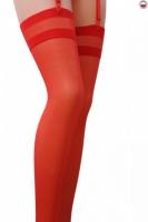 Красные чулочки под пояс с полосатой резинкой Passion (17 den, 5 размер)