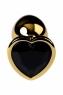 Малая золотая втулка с кристаллом в виде сердца цвета турмалин Toyfa