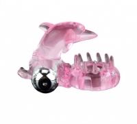 Эрекционное вибро-кольцо с клиторальным стимулятором в виде дельфинчика BAILE (10 режимов)