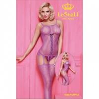 Фиолетовый комбинезон с имитацией шнуровки и чулок SL