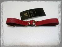Ременные красные наручники с полукольцом (узкие)