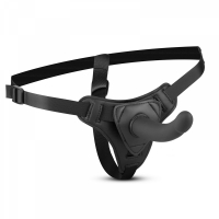 Страпон с изогнутым стимулятором Easytoys Harness with silicone dildo