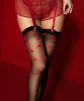 Кокетливые чулочки под пояс Alice с красными сердечками 20 den 3(M)