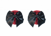 Красные пестисы с черными бантиками Burlesque Blaze Black