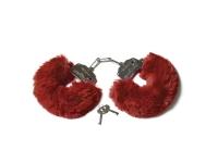 Шикарные наручники с пушистым мехом винного цвета Be Mine