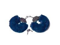 Шикарные наручники с пушистым мехом синего цвета Be Mine