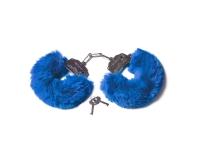 Шикарные наручники с пушистым мехом цвета кобальт Be Mine