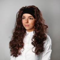 Карнавальный парик с локонами и фиксирующей повязкой
