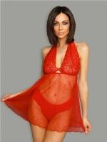 Полупрозрачное красное платье с кружевном топом SM