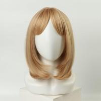 Парик удлиненное каре блонд с чёлкой и имитацией кожи (30 см)