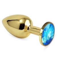 Малая золотая металлическая пробка с голубым кристаллом