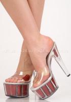 Туфли прозрачные с красным сердечком 38