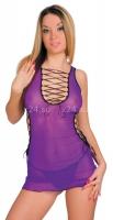 Мини-платье со стрингами и со шнуровкой, фиолетовый