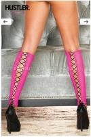 Сексуальные розовые гетры со шнуровкой