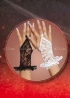 Кружевные белые перчатки с рюшами