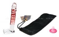Стимулятор-фаллос из стекла прозрачный с бордовым