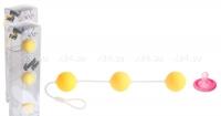 Трехрядные анальные шарики желтые Funny Five