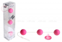 Трехрядные анальные шарики розовые Funny Five