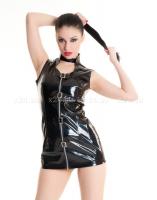 Платье чернное виниловое с молнией S